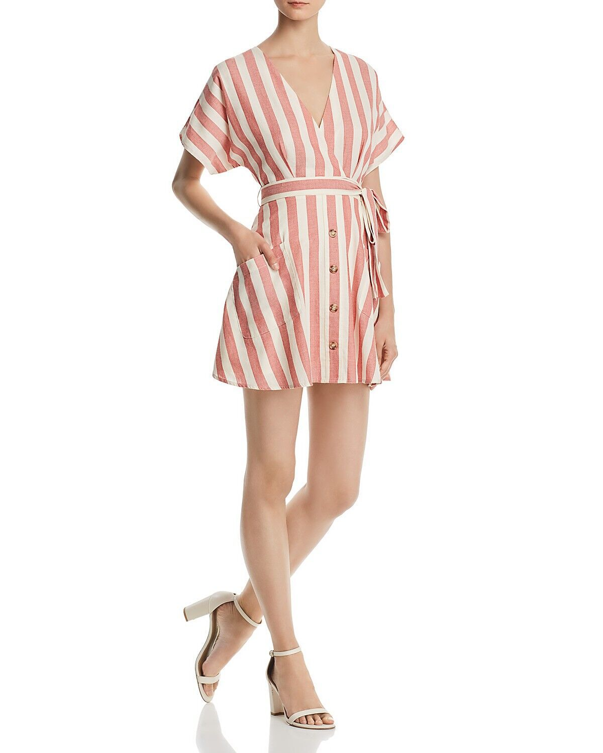 Classic Casual Deep V Neck Tie Waist Vertical Striped Bodycon dress