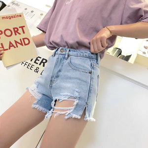 Cute Destroyed Washed Side Cut High Waisted Ripped Denim Shorts