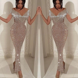 Sparkle Tassel Fringe Flounce Off The Shoulder Bodycon Long Cocktail Dress