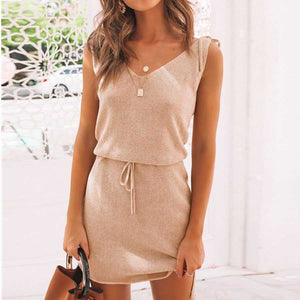 Tummy Hide Irregular Simple Tie Up Shoulder V Neck Sundress