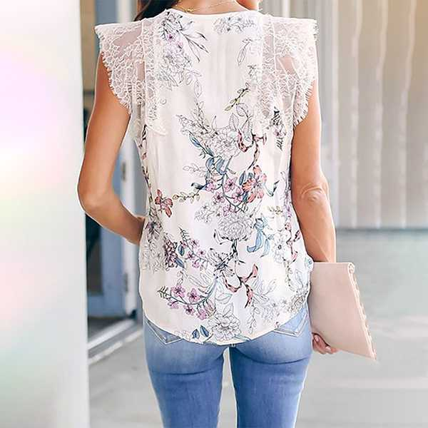 Lace Shoulder Top Leopard Print T Shirt Sleeveless