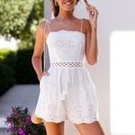 Cotton Crochet Eyelet Waist Tie Shoulder Shorts Romper Jumpsuit