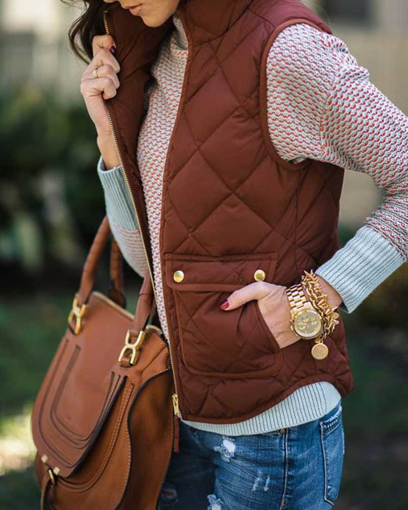 Quilted Cotton Zip Up Plaid Puffer Womens Vest