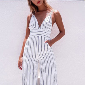 Strappy Spaghetti Strap Striped Plunge High Waisted Jumpsuit Low Back