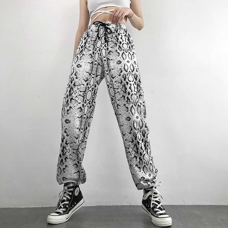 Casual Snake Skin Tie Waist Sports Pants