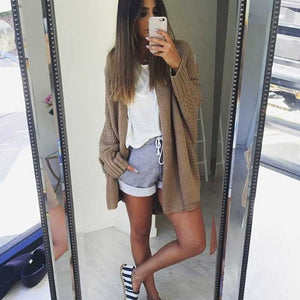 Oversized Open Front Batwing Long Cardigan Sweater