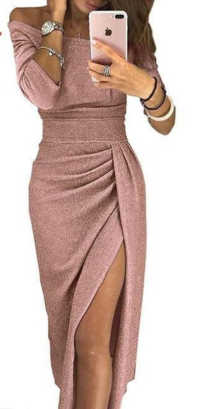 Glitter Half Sleeve High Waisted Off The Shoulder Split Dress
