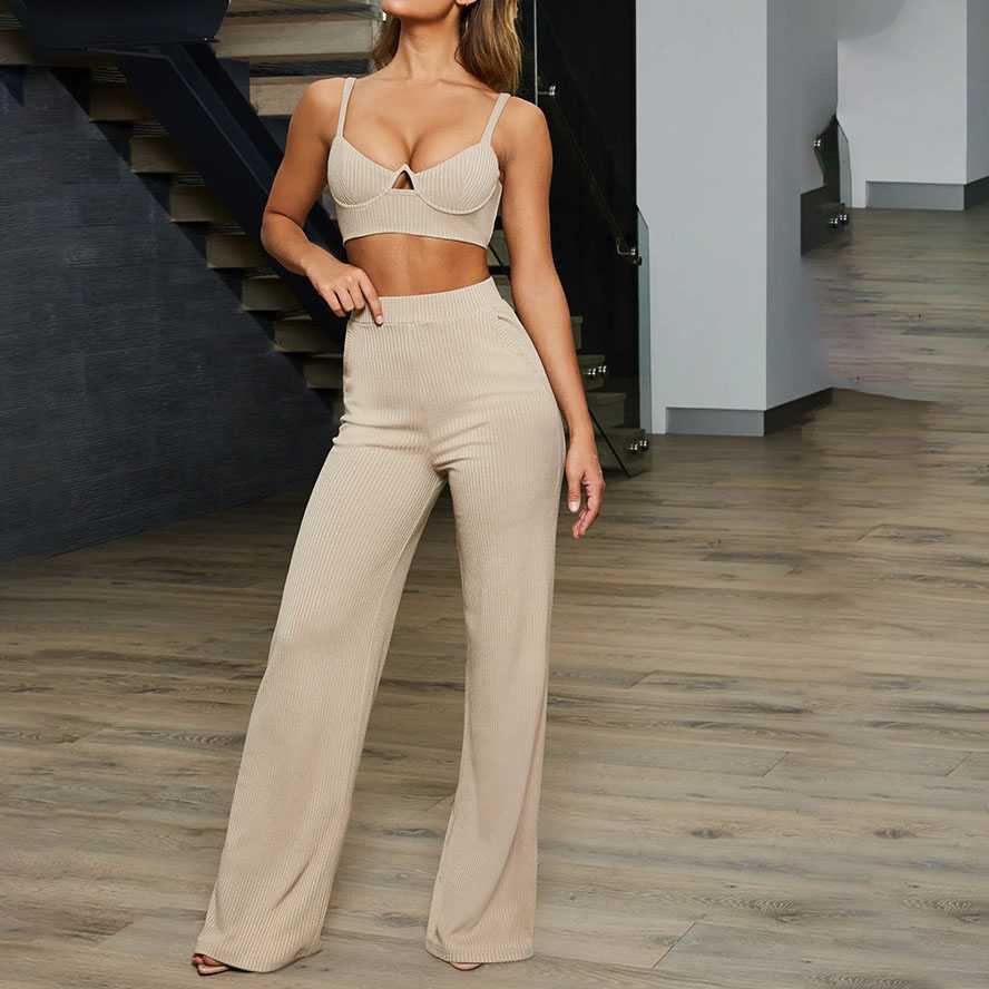 Two Piece Bustier Corset Crop High Waisted Ribbed Wide Leg Trousers