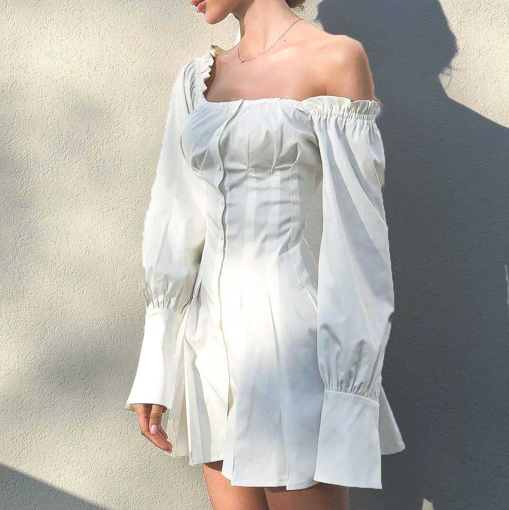 Flowy Long Puff Sleeve Off Shoulder Mini Dress