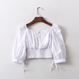 Casual Front Tie Ruched Square Neck Smocked Crop Top Shirts