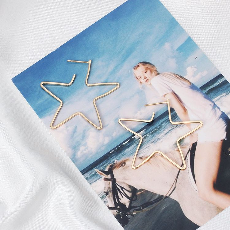 Lucky Hollow Out Star Earrings Metal Eardrops
