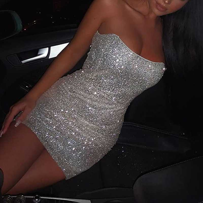 Sparkle Sequin Strapless Night Out Bandeau Bodycon Dress
