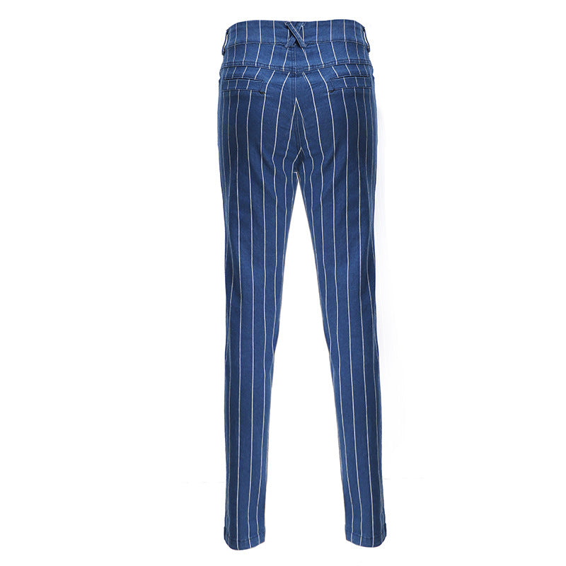 Casual Slimming Cuffed High Waisted Vertical Striped Skinny Jeans