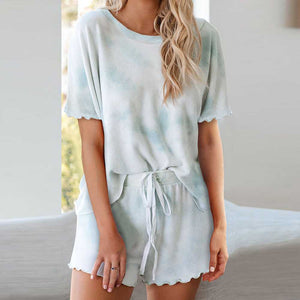 Aesthetic Pastel Tie Dye Knit Pullover Top And Scalloped Ruffle Knit Shorts Sets