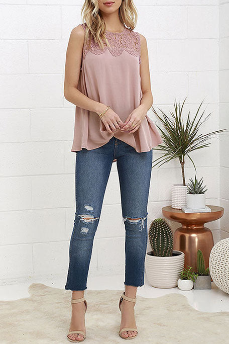 Casual Round Neck Lace Tank Top Tee Shirts Sleeveless