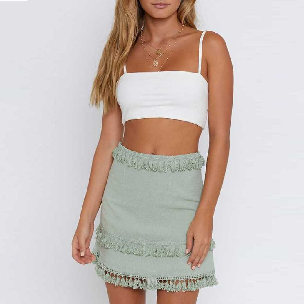 Linen Cotton Boho Chic Layered Tassels High Waist Pom Poms Mini Skirts