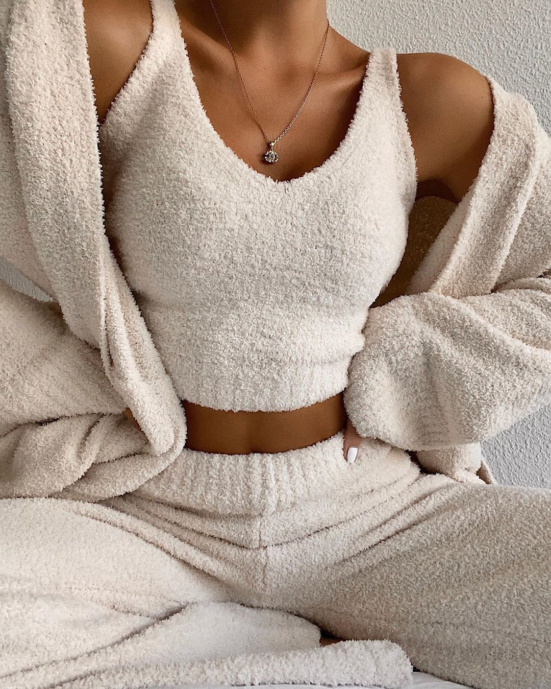 Matching Fuzzy Two piece Crop Tank Top And Fleece Pant Set