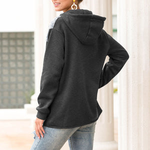 Oversized Color Block Sherpa Fleece Hooded Sweatshirt Hoodies