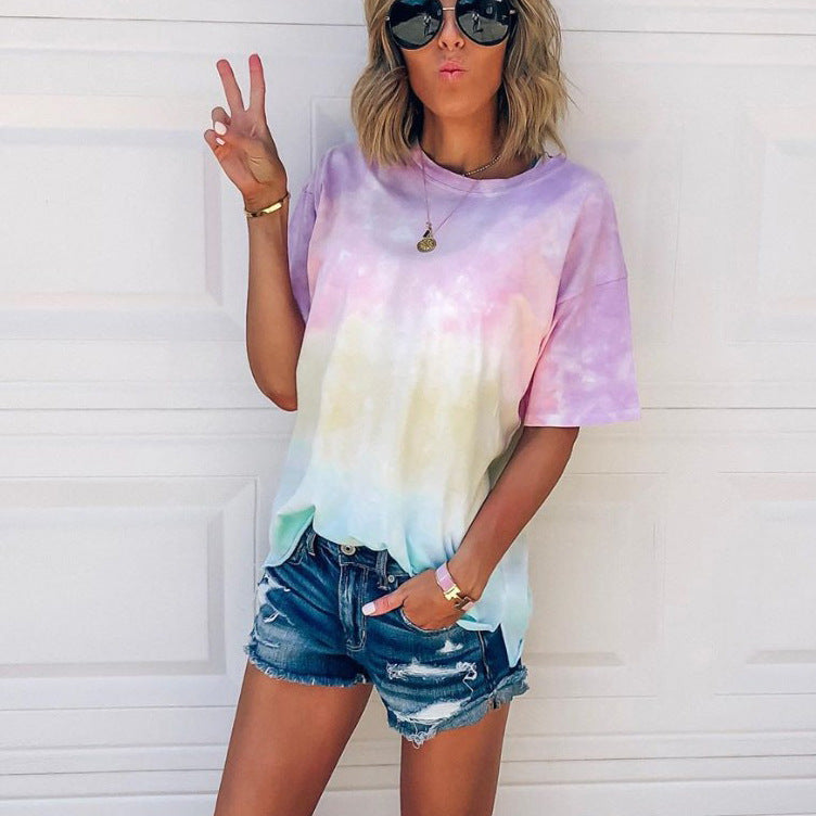 Trendy Casual Gradient Tie Dye Tee Shirts