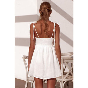 Ruched Bow Tie Up White Bandeau Bodycon Mini Dress With Straps