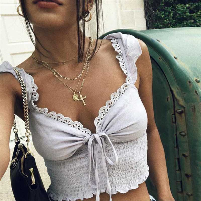 Lace Trimmed Ruffle Strap Front Tie Up Women's ruched Crop Top