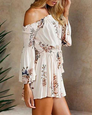 Boho Front Tie Waist Off Shoulder Floral Romper Dress