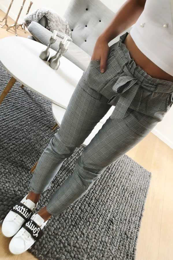 Vintage Tie Waist Grey Checked Skinny Trousers Paparbag Pants