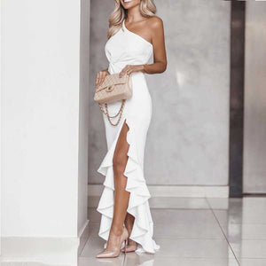 Twist Front One Shoulder Ruffle Maxi Dress With Slit