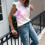 Rainbow Tie Dye Tee Shirt With Ruffle Shoulders