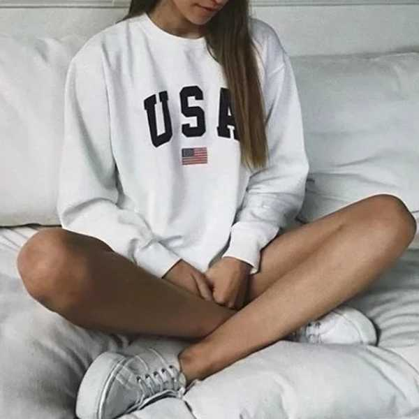 USA College Crewnecks American Flag Sweatshirt Womens