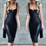 Chic Plunge V Cut Black Faux Leather Bodycon Pu Dress