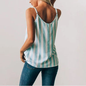 Casual Adjustable Spaghetti Striped Button Down Tank Top  Swing Vest