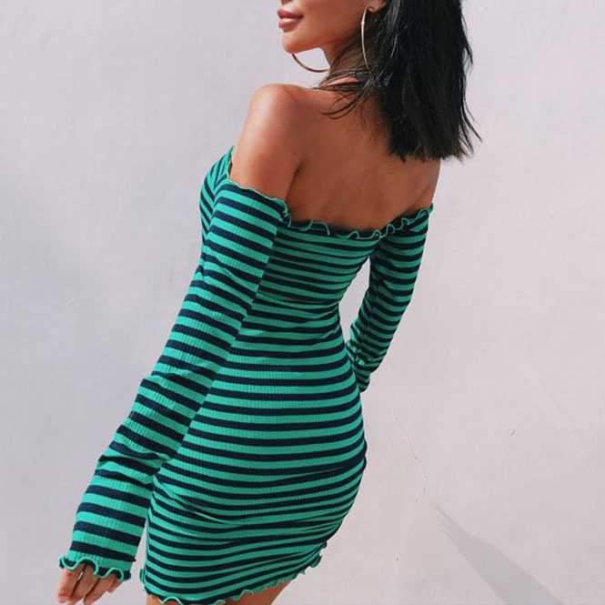 Stripe Ruffles Off Shoulder Bodycon Long Sleeve Tight Dress