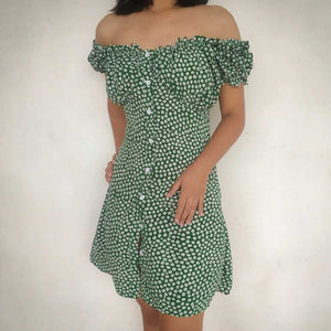 Daisy Floral Prints Vintage Green Frilled Button Through Dress