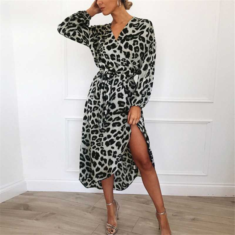 Classy Retro Asymmetric Long Sleeve Wrap Tie Leopard Midi Dress Bodycon