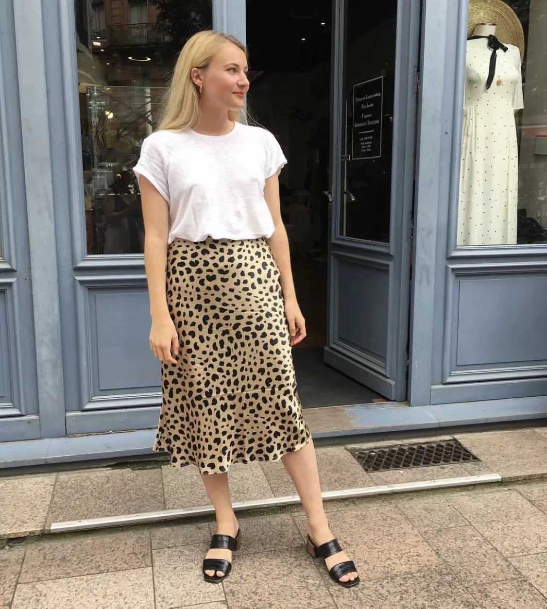 Retro Elastic Band High Waisted Leopard Print Midi Skirt
