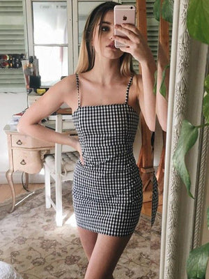 Retro Plaid Straight Neck Gingham Bodycon Dress