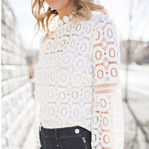 Sheer Mesh White Crochet Eyelet Lace Blouse Top