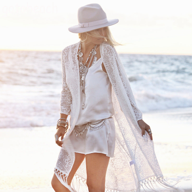 Bohemian Hollow Out Crochet Beach Cover Up Kimono Dress