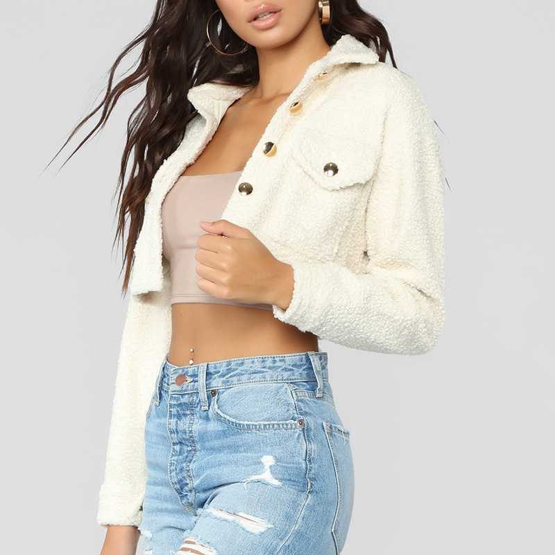 thicker white short teddy faux fur cropped jacket winter. Black Bedroom Furniture Sets. Home Design Ideas