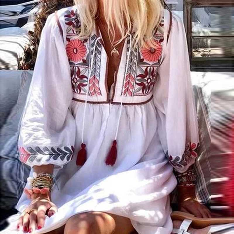 Boho Chic Floral Prints White Short hippie dresses