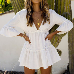 White Midi Sleeve Deep V Back Frill Mini Dress