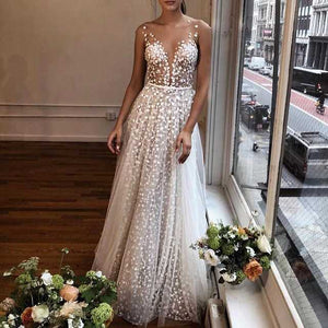 Exquisite Tulle Embellished Bridesmaid Dress Tie Back Lace Formal Ball Gowns