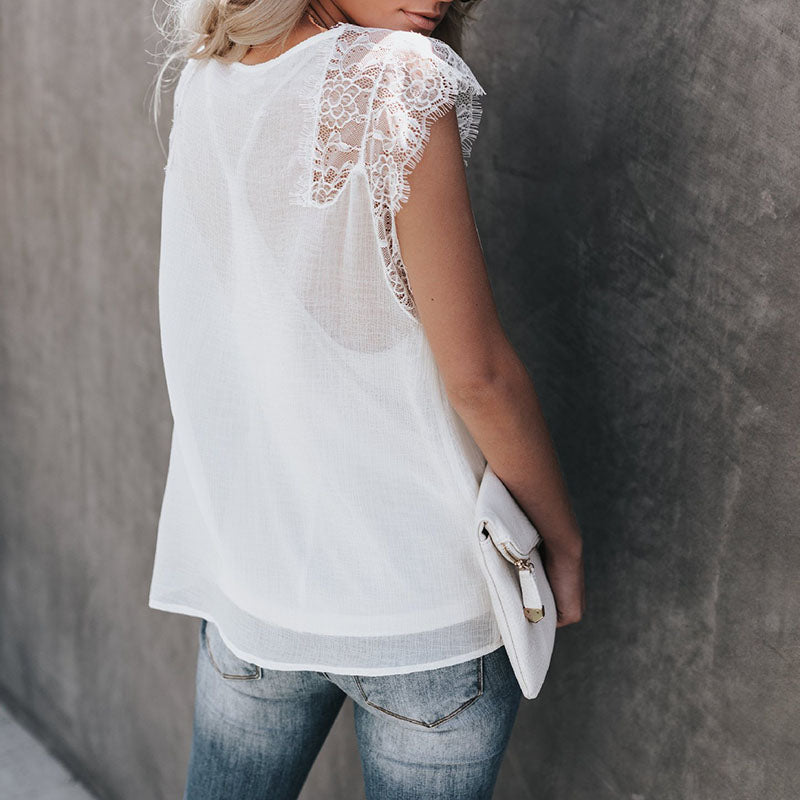 Two Piece Deep V Neck Sleeveless Lace Tank Top