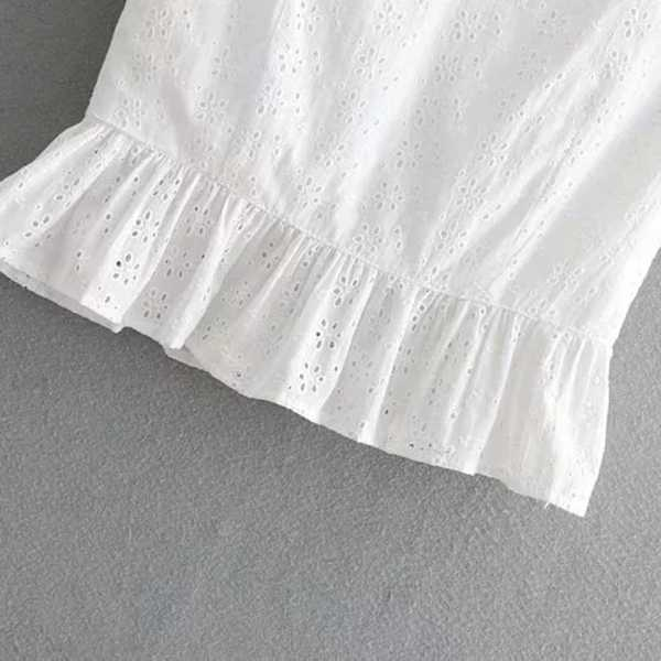 White Eyelet Lace Peplum Top Ruffle Trimmed Blouse