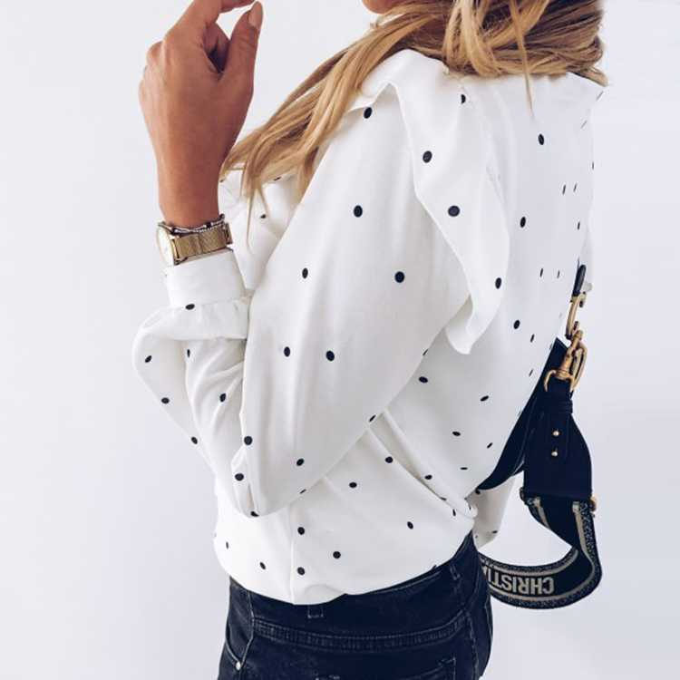White Dotted Blouse Long Sleeve Ruffle Shirts With Dots
