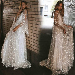 Shiny Star Embellished Mesh Overlay Maxi Dress Formal Gowns