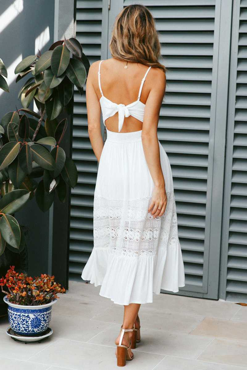 Elegant Eyelet Lace Tie Knot Back Sleeveless Button up Midi Dress