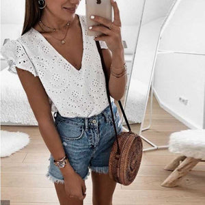 Boho Ruffle Puff Sleeve V Neck White Eyelet Blouse