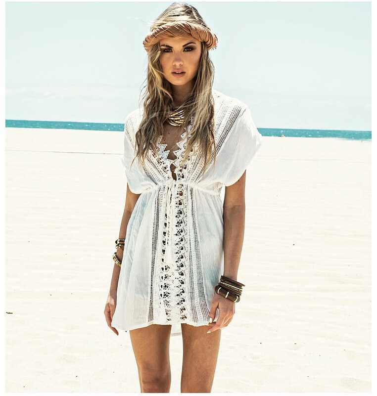 Beach Trip Honeymoon Deep V Neck White Crochet Lace Beach Dress Cover Ups